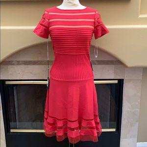 Tadashi Shoji Coral Flare Dress S